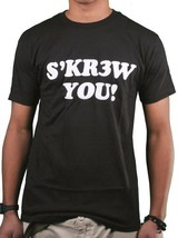 Kr3w Skateboarding Mens Black S'KR3W YOU! screw FU T-Shirt NWT