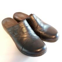 Clarks Bendables Womens Sz 9 Black Leather Slip On Mules Clogs Slides - $24.99