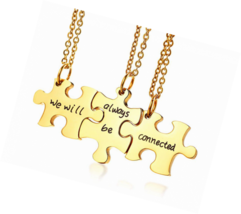 Gold Plated Stainless Steel Three Puzzle Connected Friendship Necklace S... - $35.49