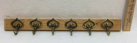 "Coat Rack Brushed Brass Metal Hooks 18"" Wide 6 Hooks Oak Wood Wooden Base - $12.22"