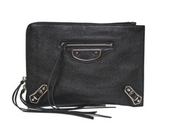 New Balenciaga Metallic Edge Pouch Black Leather Clutch Bag - $586.04