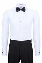 New Berlioni Italy Men's Premium Tuxedo Dress Shirt Laydown Collar Bow-Tie White image 2