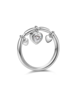 DANGLING HEART RING: STERLING SILVER, ROSE GOLD - $123.49