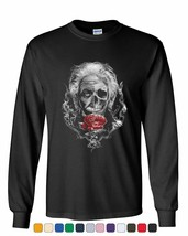 Albert Einstein Skull Face Long Sleeve T-Shirt Urban Rose Genius Scientist Tee - $12.25+