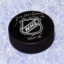 Bill McCreary NHL Shield Logo Autographed Hockey Puck with HOF Inscription - $70.00