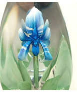 Glass Etched Blue Iris Paper Weight  - $27.72