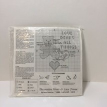 """Love Bears All Things Cross Stitch Kit Decorative Heart & Lace Frame 7"""" - $8.79"""