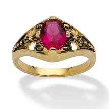 Birthstone 14k Gold-Plated Filigree Ring-July-Simulated Ruby - $27.94