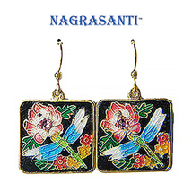 Nagrasanti Cloisonne Dragonfly Panel/Pink Crystal Drop Earrings - £19.11 GBP
