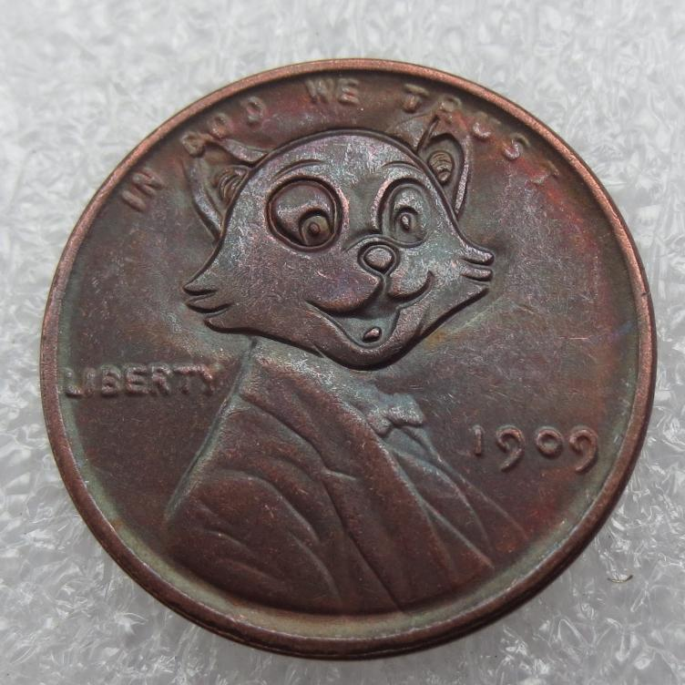 Primary image for Hobo Nickel 1909 Wheat Penny  Lincoln in TomCat Hello Kitty Cat High Quality
