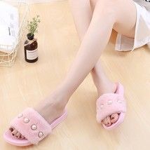 Women Fashion Shoes Bead Faux Fur Plush Fluffy Slippers Home Indoor Foot... - $19.99