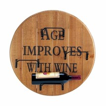Wooden Round Wall Mounted Wine Rack Holds 4 Bottles Age Improves w/ Wine... - €42,05 EUR