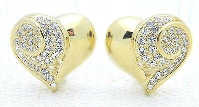 VTG GIVENCHY Paris New York Gold Tone Rhinestone Heart Clip Earrings