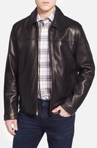 Classic Front Zip Collar Men's Genuine Leather Jacket Slim fit Biker jacket