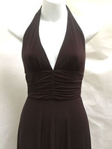 BCBG Max Azria XS Dress Brown Halter Asymmetric Hem Draped Made in USA - $35.26