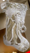 Bucilla Elegant Christmas White Santa Holiday Formal Felt Stocking Kit 8... - $38.95