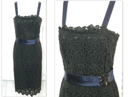 ANNE KLEIN Sz 4 Womens LACE COCKTAIL Pencil Sheath DRESS Strapless Cotto... - $37.99