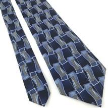 "PRONTO UOMO Men's 100% Silk Neck Tie 56"" Long 4"" Blue Geometric Pattern - $19.39"