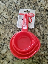 BETTY CROCKER RED PLASTIC MEASURING 1, 1/2, 1/3 1/4 CUPS SIZES 4 IN SET NIP - £4.65 GBP