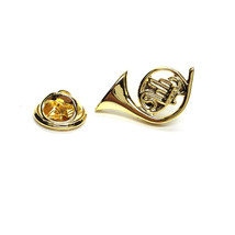 Gold  French Horn  tie pin, Lapel Pin Badge, in gift box detailed design