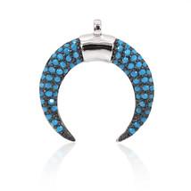 Crescent Moon Pendant Turquoise Micro Pave Horn for Women Men Bracelet N... - $10.99