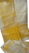 Unused Antique Yellow & Ivory Woven Jacquard Czech Tablecloth & 6 Napkin... - $79.17