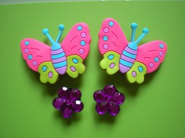 s Shoe Charm Plug  Fit Clog Belts & Bands W/Holes 4 Butterfly Flowers - $7.99