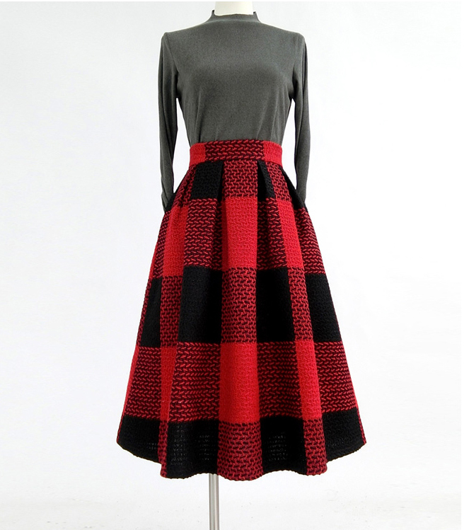 RED PLAID Women Midi Skirt Autumn Classic Plus Size Flannel Long Plaid Skirts