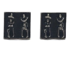 Vintage Mid Century Modern Cufflinks Stylized Cowboy Stick Figures Silve... - $18.66