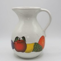 "Vintage Harris Potteries USA Pottery 9"" Jug Pitcher w/ Handle Fruit - $19.79"