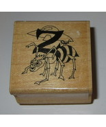 Screamish Alphabet Z Rubber Stamp RARE Zombie Bee UFO Insect Wood Mounted - $19.39