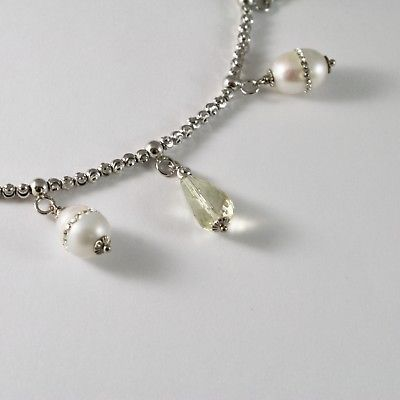SILVER 925 BRACELET RHODIUM WITH QUARTZ LEMON AND PEARLS FW WITH CRYSTALS