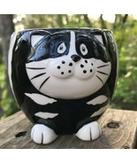 PIER 1 Imports Kitty Cat Coffee Mug Cup Black/White Stripe Handpainted  Dolomite - $17.53