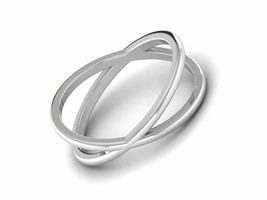 Criss Cross Band Solid 925 Sterling Silver White Gold Rhodium Stackable ... - $3.31