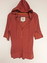 Aeo American Eagle Outfitters Size Xl Hoodie Top 3/4 Sleeve Orange Stretch Knit - $16.83