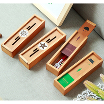 Creative Retro Large Capacity Student Wooden Pencil Box Simple Stationer... - $20.00