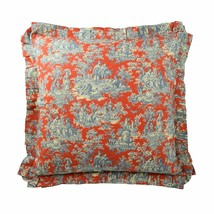 Waverly Sanctuary Rose Euro Sham Square Toile 100%Cotton Red Heritage Blue 26x26 - $34.99