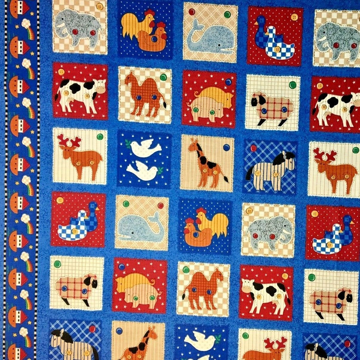 Noahs Ark Quilting Fabric Animal Squares and Border Fabric Traditions 3/4 Yard