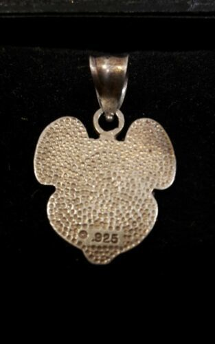 Sterling Silver 925 Disney Mickey Mouse Diamond Cut Etched Textured Pendant