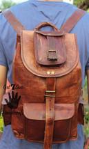 Real genuine men's leather backpack bag laptop briefcase satchel brown vintage image 3