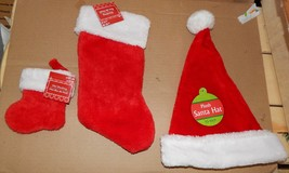 "Christmas Stockings Mini Size 6"" & 13"" One & Santa Hat 15"" Child Size 91F - $6.49"