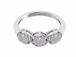 Shine jewel 925 silver tri stone oval cut moonstone ring - $17.81