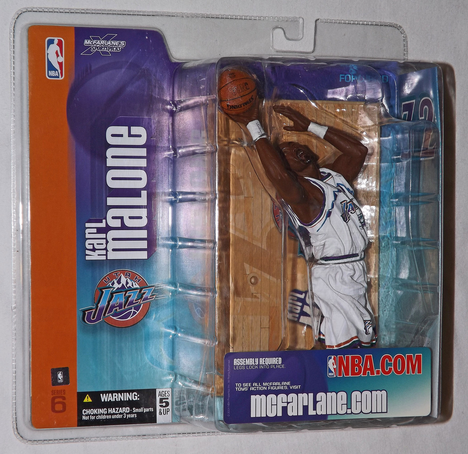 2004 Karl Malone Utah Jazz Uniform retro/Chase 6' Action Figure NBA Series 6