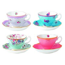 Royal Albert Candy Teacups and Saucers, (Set of 4), Mixed Patterns - $129.99