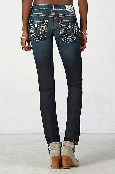 New Womens True Religion Brand Jeans Dark Blue 26 NWT Super T Skinny Flap White image 4