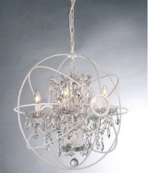 White Chandelier For Girls Room Metal Orb Chandeliers For