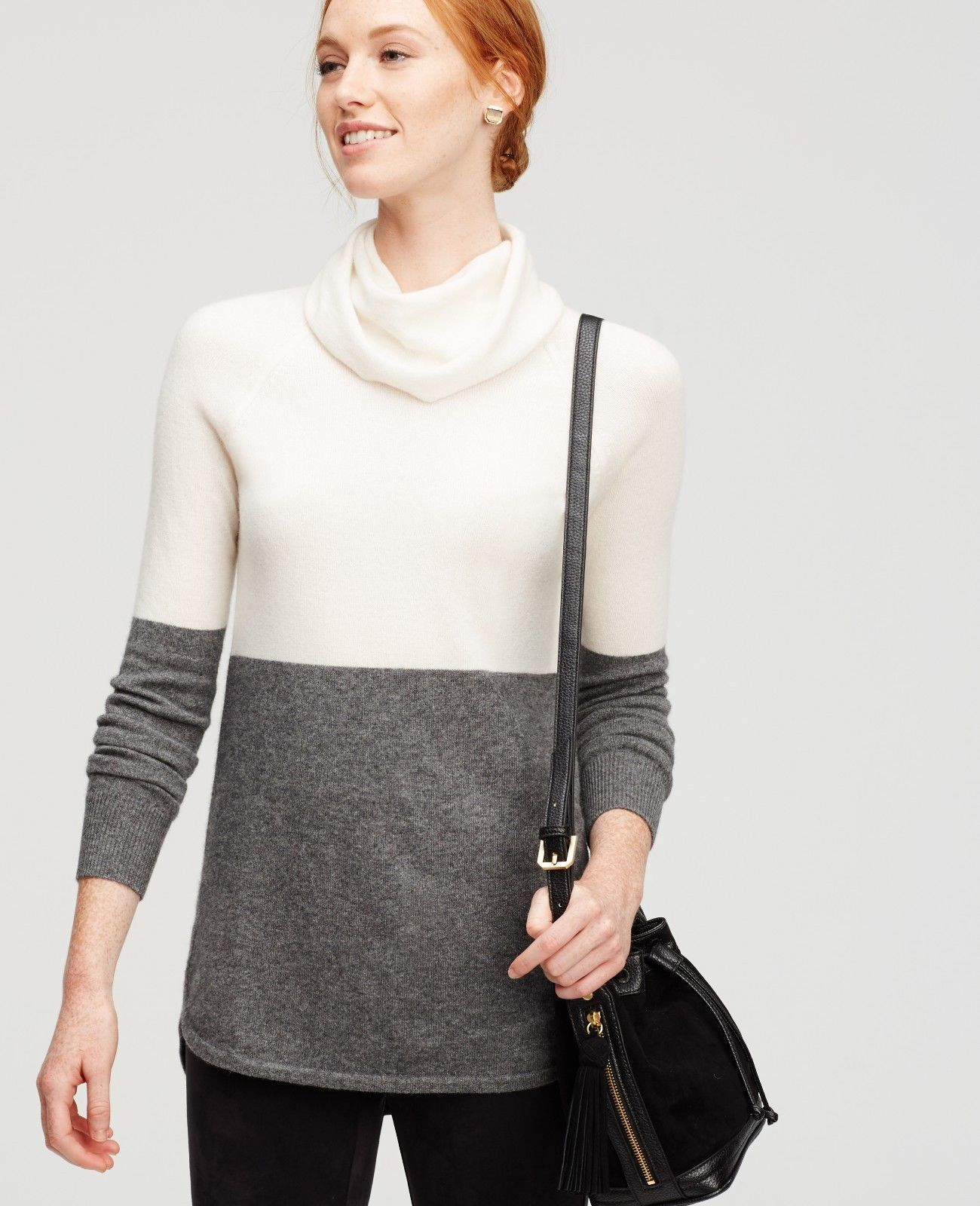 Ann Taylor colorblock cowl-neck cashmere sweater, size XL, NWT