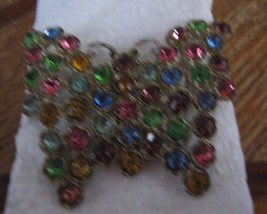 VINTAGE LARGE BUTTERFLY HAS MULTI COLORED RHINESTONES SHINES LIKE THEY A... - $19.79