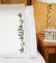 Janlynn Stamped Cross Stitch Kit, Pansy & Butterfly Pillowcase Pair - $6.70