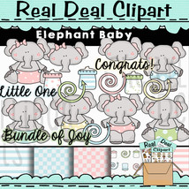 Elephant Baby Commercial Use Clipart - Digital Instant Download - $1.35
